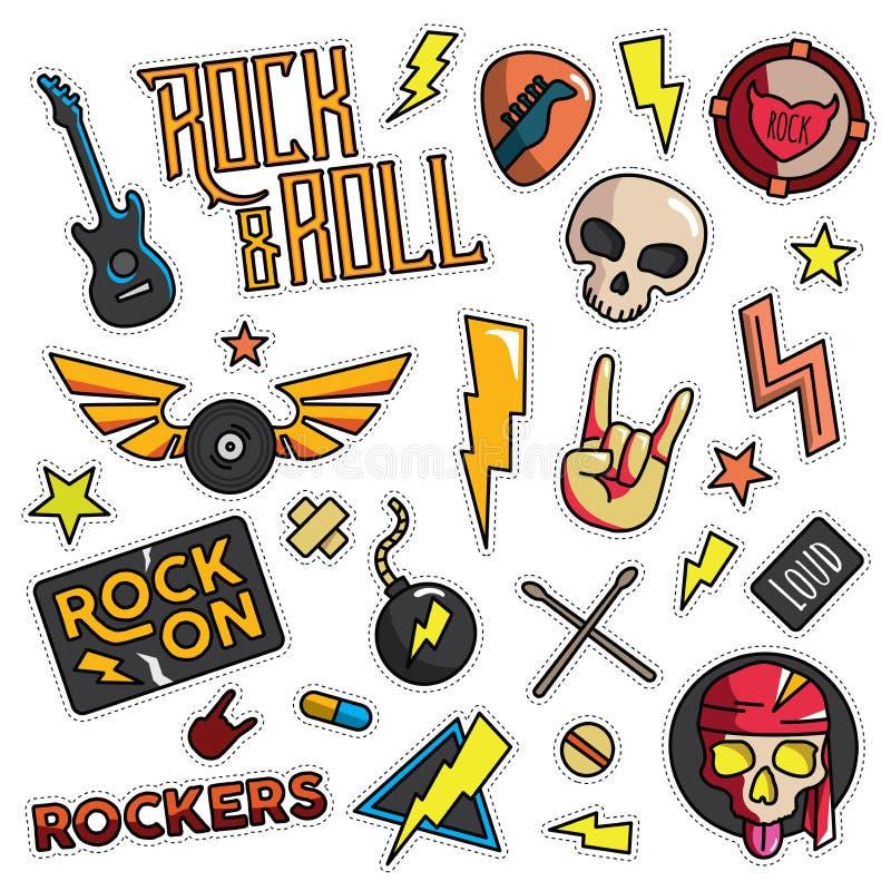 Vintage 80s-90s Rock And Roll Fashion Patch Cartoon Illustration. Vintage 80s-90s Rock And Roll Fashion Cartoon Illustration Set Suitable for Badges, Pins vector illustration