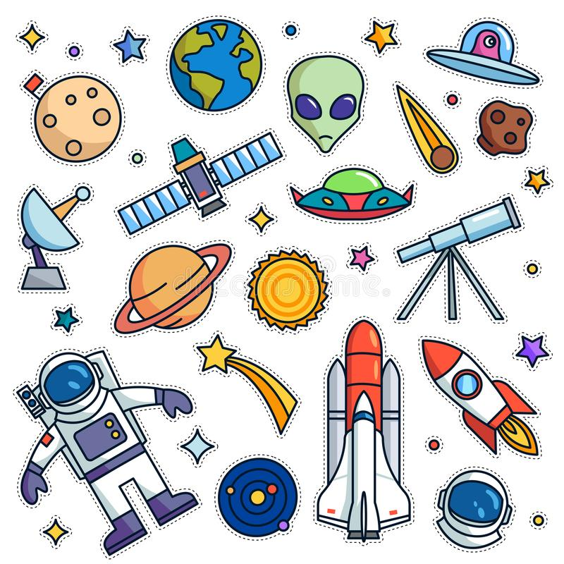 Vintage 80s-90s Space Theme Fashion Patch Cartoon Illustration Set stock illustration