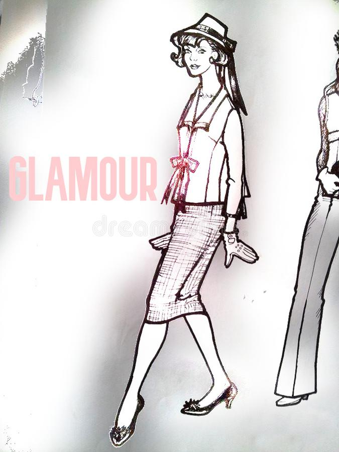 Vintage 50s Style Outfit. Woman.. Fashion Design royalty free stock photography