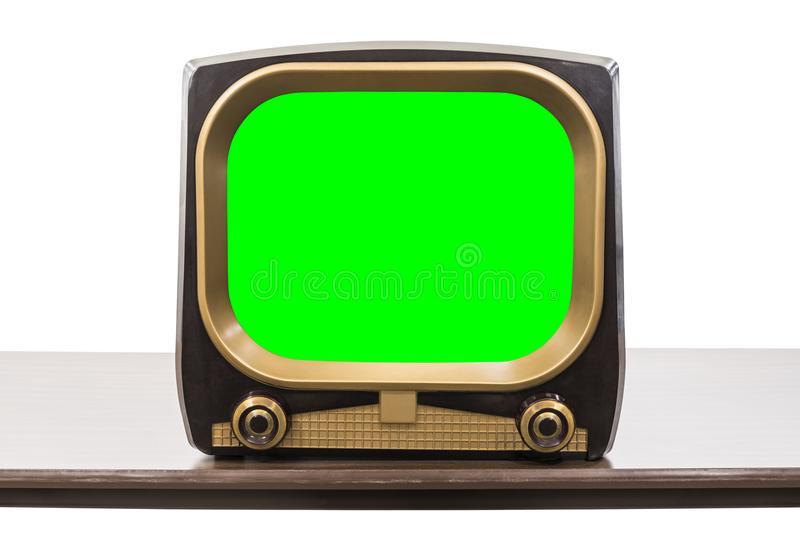 VIntage 1950s Television Isolated with Chroma Key Green Screen royalty free stock images