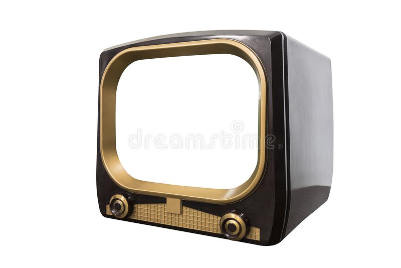 VIntage 1950s Television Isolated with Cut Out Screen royalty free stock photo