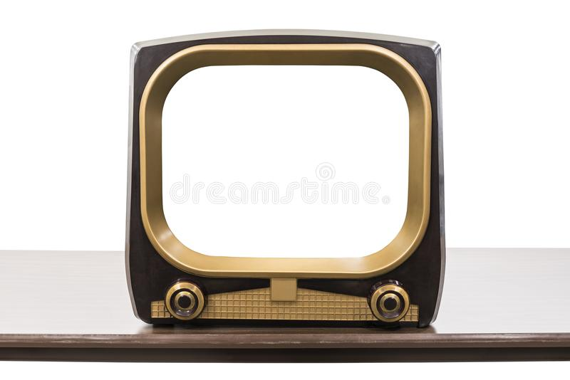 VIntage 1950s Television Isolated with Empty Screen royalty free stock photos