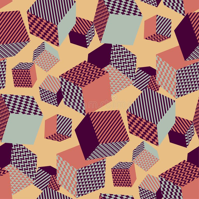 Vintage 70s vibes geometric seamless pattern with flying cubes. Geom repeatable motif for fabric, wrapping paper, background, print and web projects. Scalable royalty free illustration