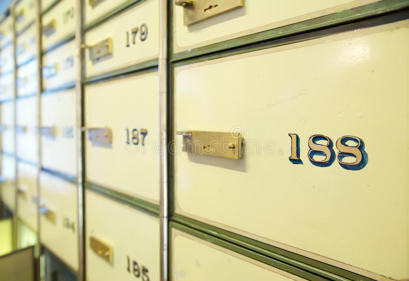 Vintage safe deposit boxes stock photos