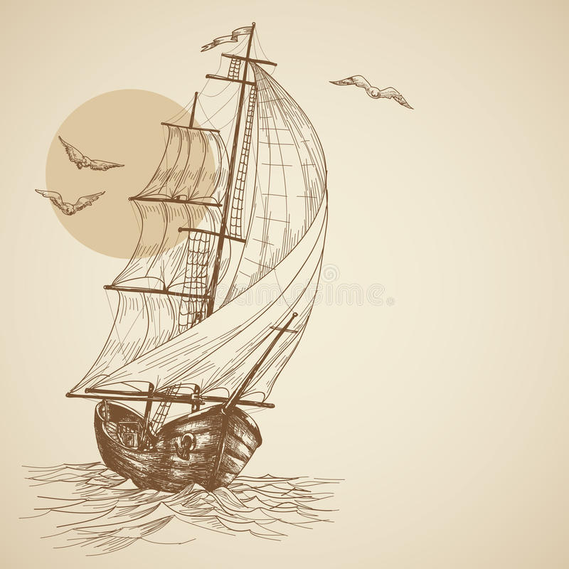 Vintage sailboat. Retro sailboat background with space for text
