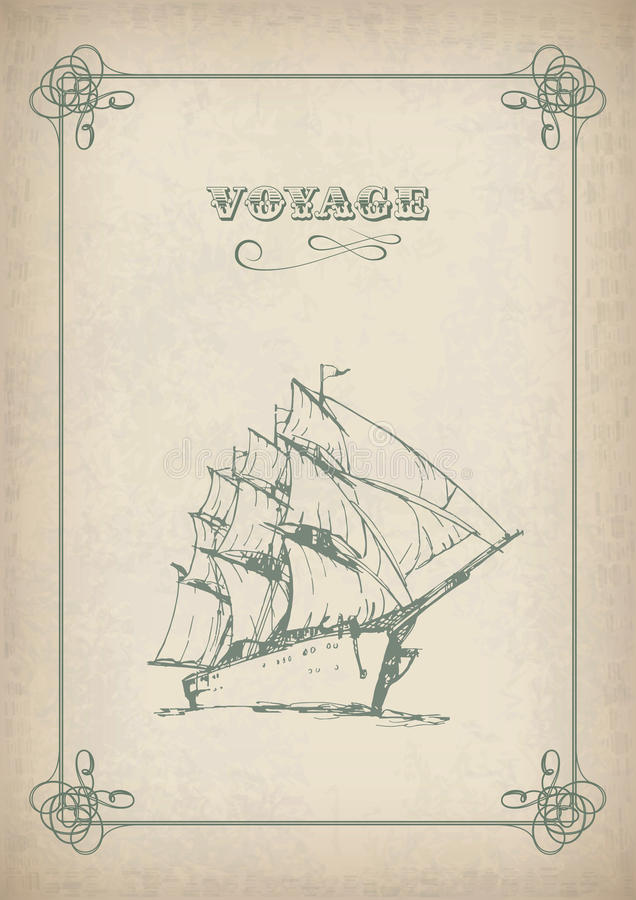 Download Vintage Sailboat Retro Border Drawing On Old Paper Stock Vector - Image: 29384194