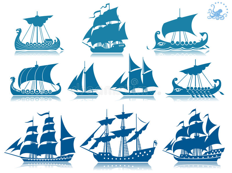 Download Vintage sailing boats stock vector. Image of reflecting - 18390881