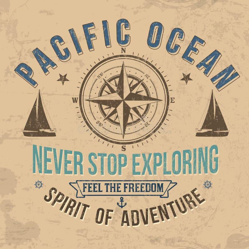 Vintage sailing typography for t-shirt print. On retro background, vector illustration vector illustration