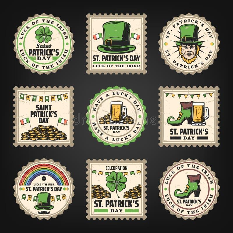 Vintage Saint Patricks Day Stamps Set stock illustration