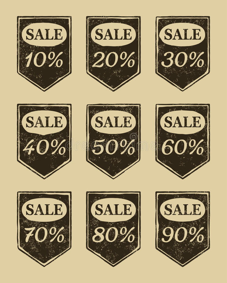Free Vintage Sale Icons Set Royalty Free Stock Images - 24079889