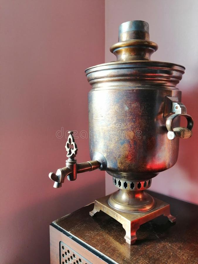 Vintage samovar for tea drinking or interior decoration stock images