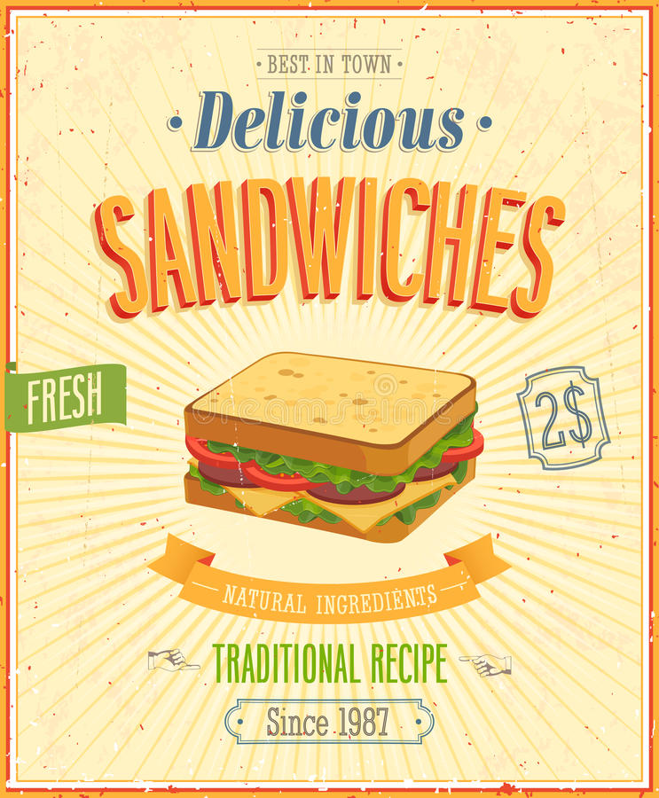 Free Vintage Sandwiches Poster. Stock Photography - 33212762
