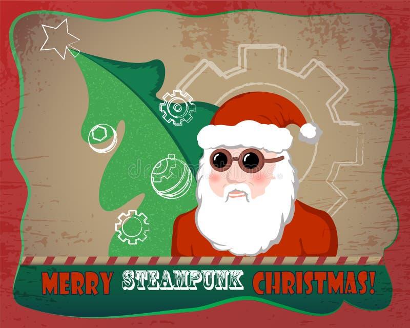 Vintage Santa Claus con el ejemplo del árbol de abeto La Navidad de Steampunk stock de ilustración