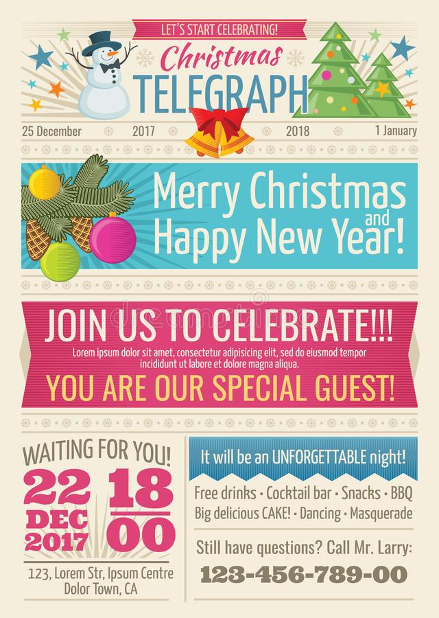 Vintage santa claus newspaper with merry christmas greeting text and graphic elements vector template stock illustration