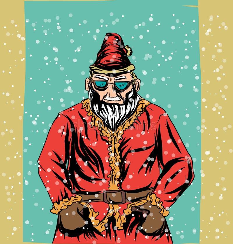 Vintage santa, ejemplo del vector de la historieta del retrato de la Navidad ilustración del vector