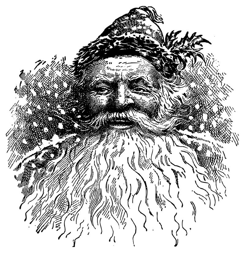 Vintage Santa Illustration. Smiling with hat and beard in snow. Both JPG and Vector files available royalty free illustration