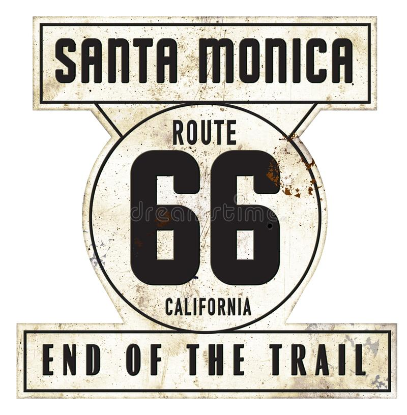 Vintage Santa Monica Pier Route 66 Sign Original Retro Style. Vintage Santa Monica Pier Route 66 Sign End of the Trail Original Style Metal Tin Rustic Retro vector illustration
