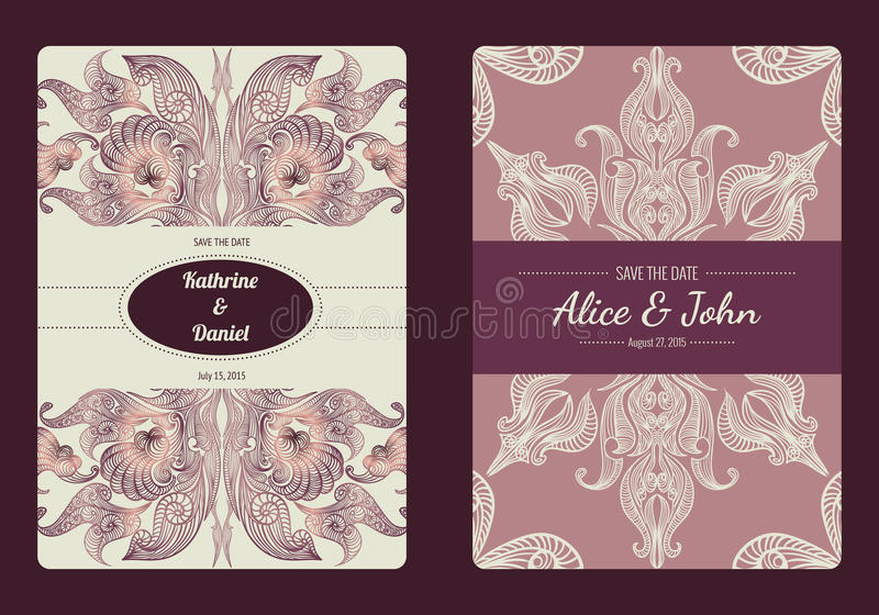 Vintage save the date or wedding invitation card collection. Vector romantic card template. royalty free illustration