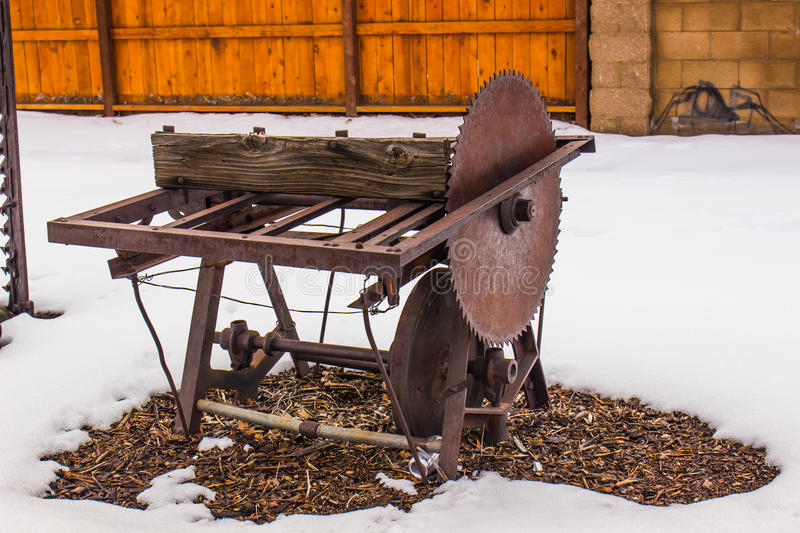 Vintage Saw Blade & Stand stock photography
