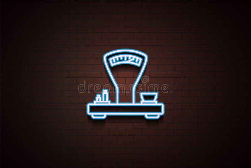 vintage scales icon in Neon vector illustration