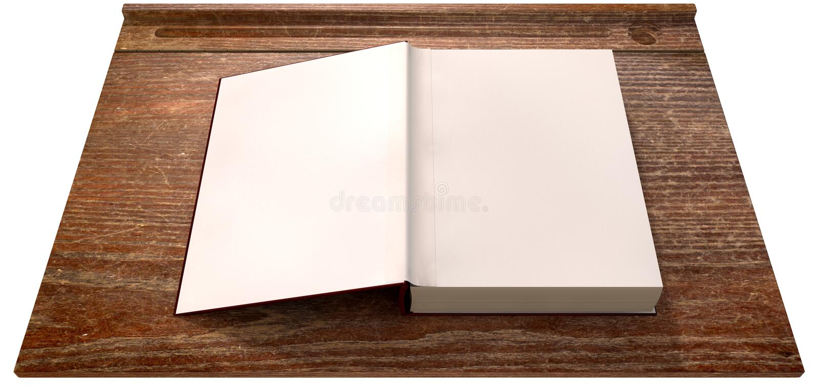 Vintage School Desk Top With Open Blank Book stock photo