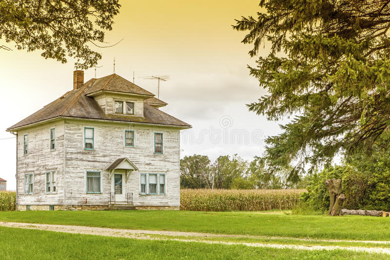 Vintage school house rural farm stormy sky stock photos