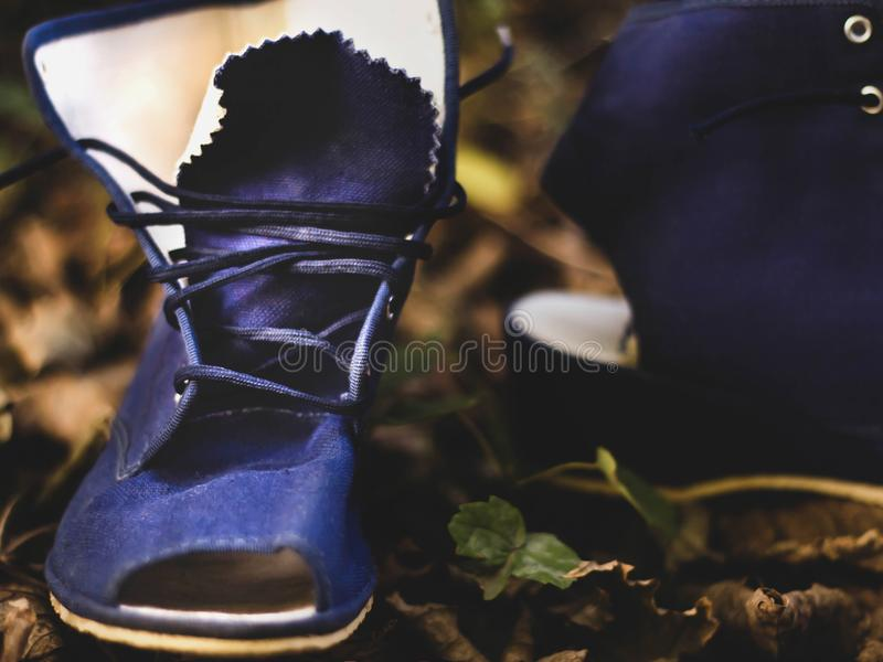 Vintage Schuhe im Park links lizenzfreies stockfoto