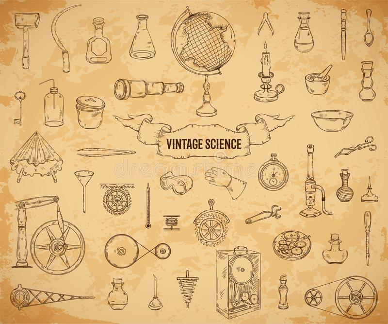 Vintage science objects set in steampunk style. Scientific equipment for physics, chemistry, geography, pharmacy on aged paper bac vector illustration