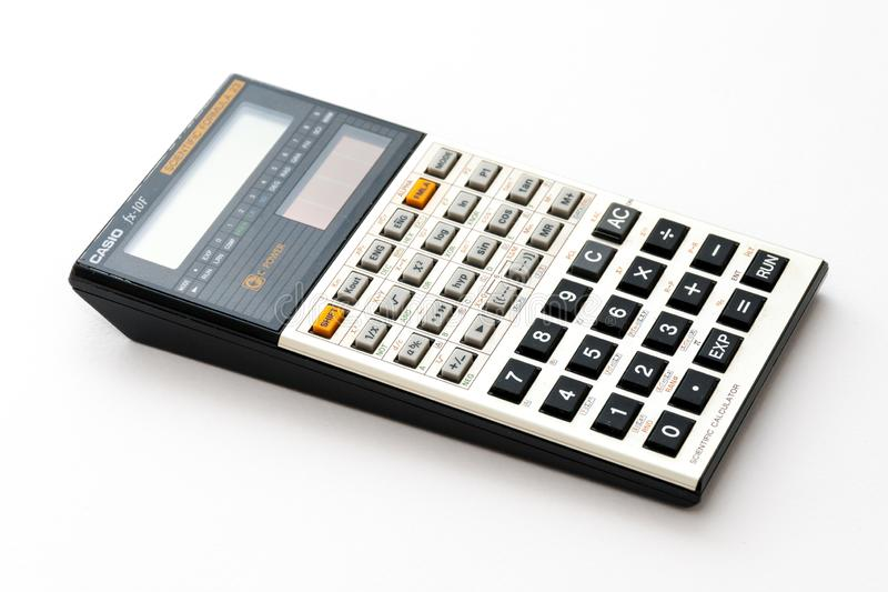 A Vintage scientific pocket calculator from late 80s stock image