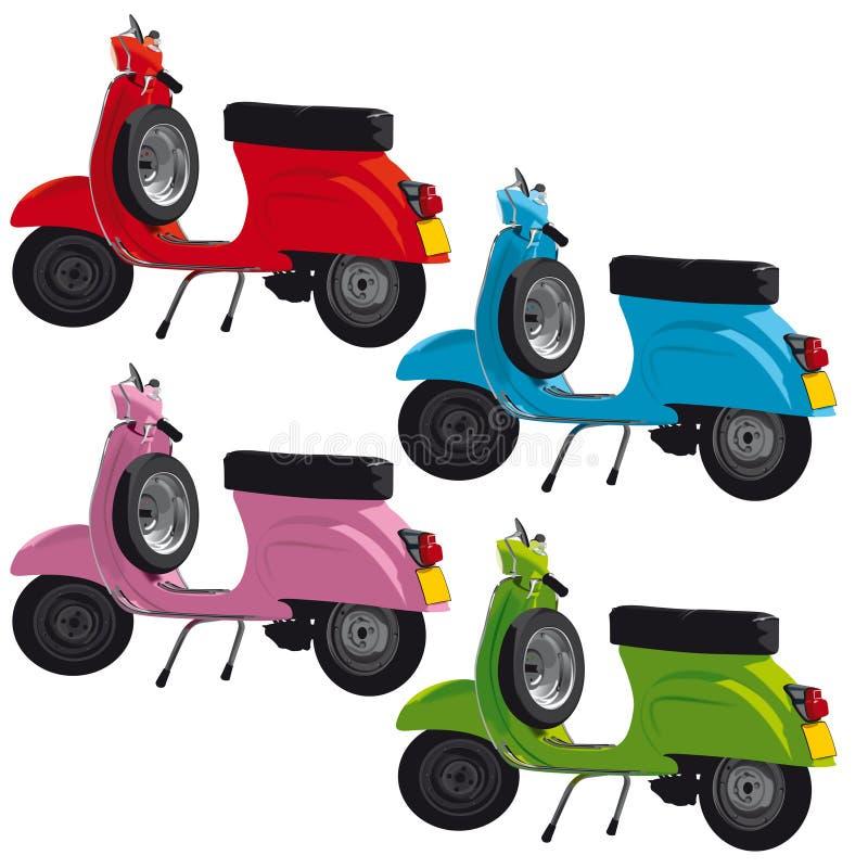 Vintage scooters illustration stock photo