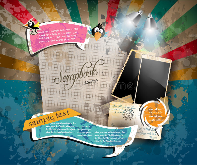 Vintage scrapbook composition with old style distressed postage design royalty free illustration