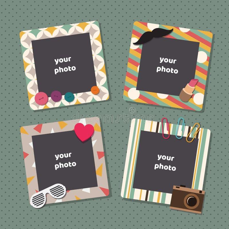 Vintage scrapbook picture frames. Retro kids birthday photo frame vector templates stock illustration