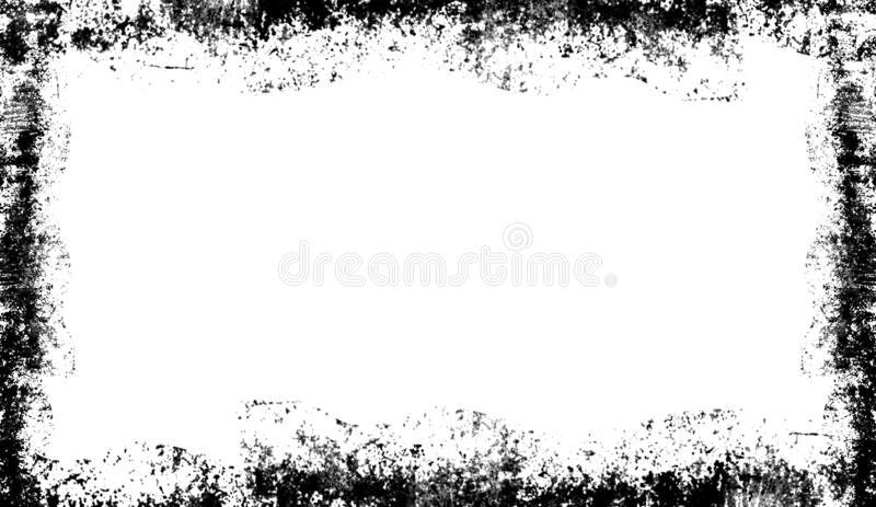 Vintage scratched grunge border overlays on isolated white background royalty free illustration