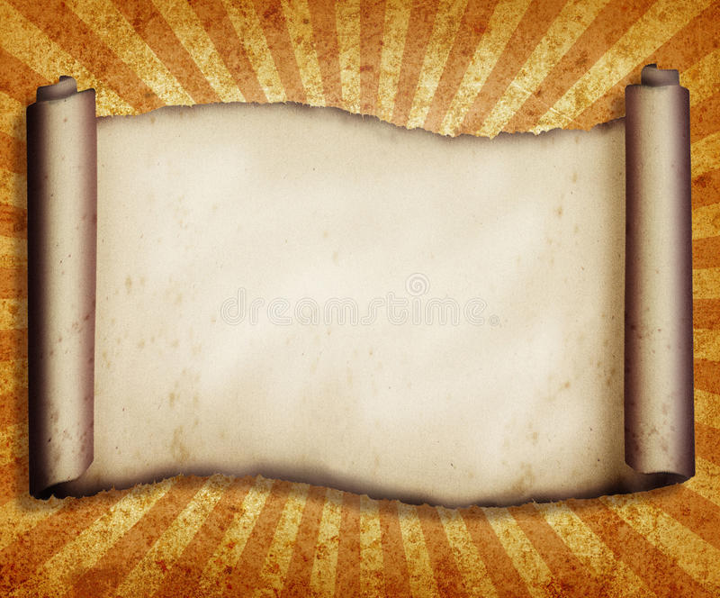 Vintage Scroll. A vintage paper scroll with a burst design in the background royalty free illustration
