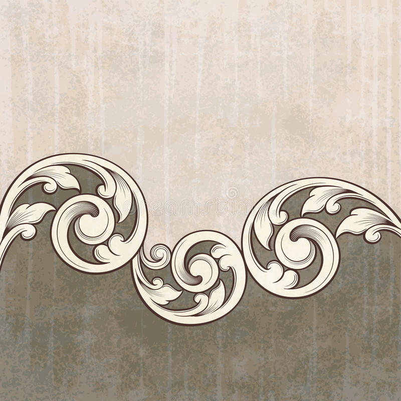 Vintage Scroll Engraving Pattern Grunge Background Royalty Free Stock Image