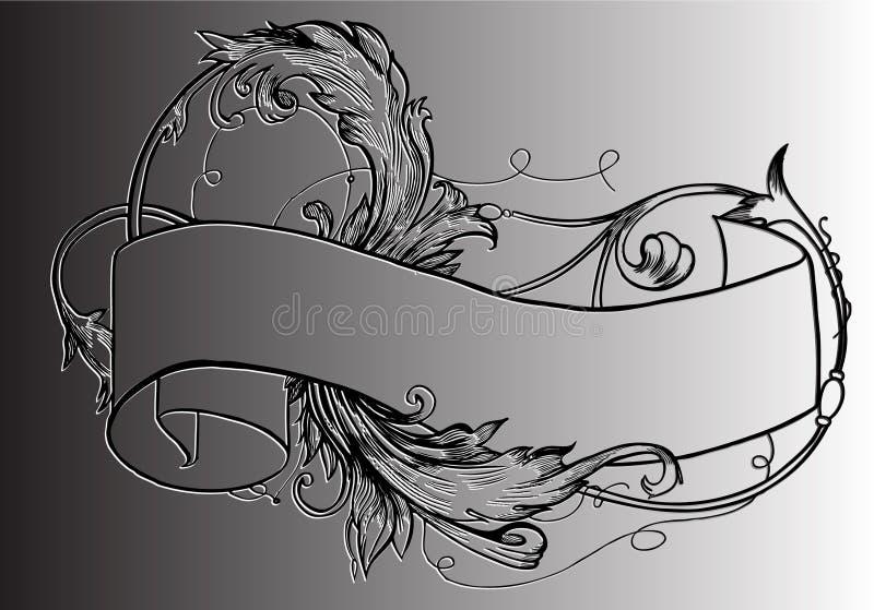 Download Vintage scroll with floral stock illustration. Image of illustration - 25268155