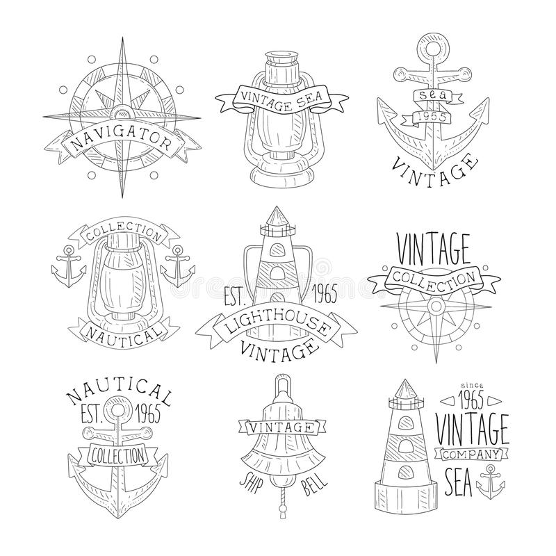 Vintage Sea Collection Black And White Emblems royalty free illustration
