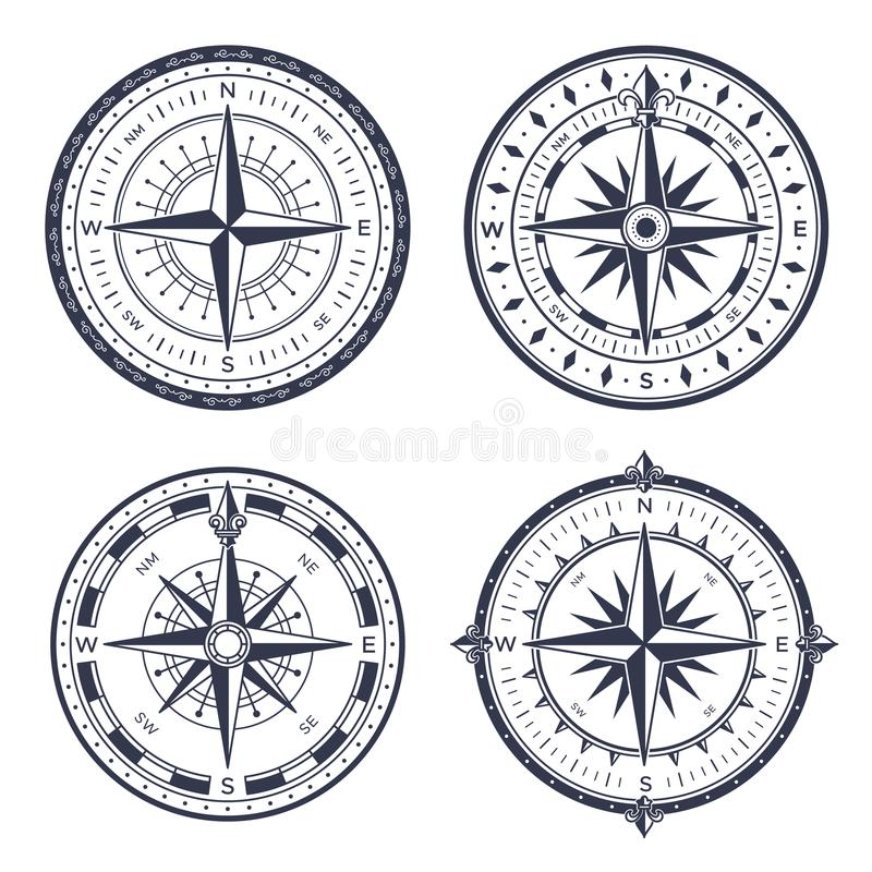 Vintage sea compass. Retro east and west, north and south arrows. Navigation compasses with rose of wind isolated vector. Vintage sea compass. Retro east and vector illustration