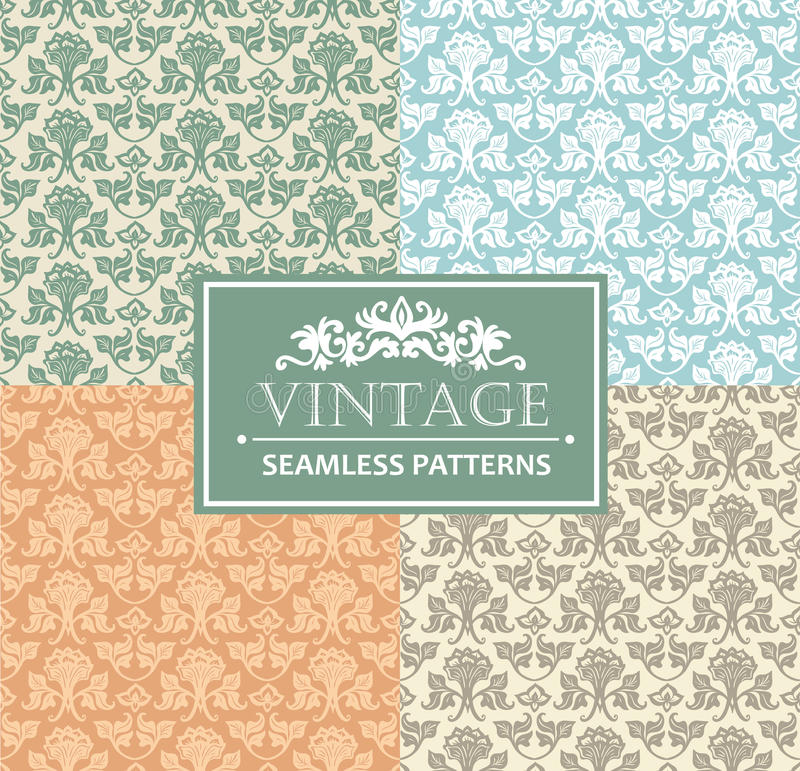 Vintage seamless background, antique, victorian silver ornament, floral luxury ornamental patterns. Vector template stock illustration