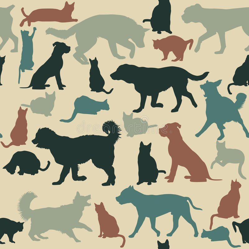 Vintage seamless background with cats and dogs silhouettes royalty free illustration