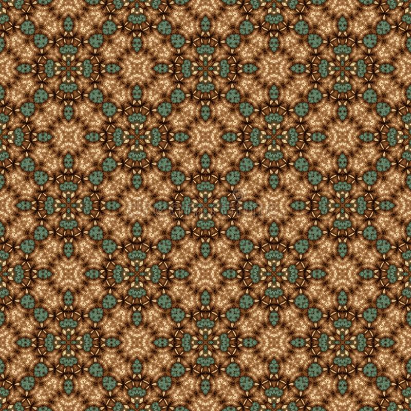 Vintage seamless background with geometrical floral design stock illustration