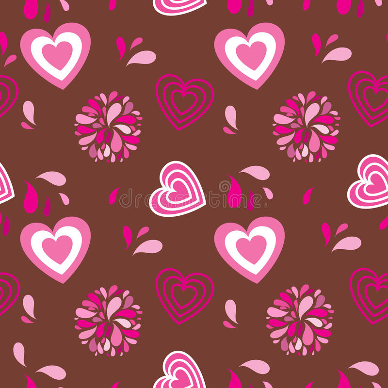 Vintage seamless background with hearts and flower. S colorful, creative stock illustration