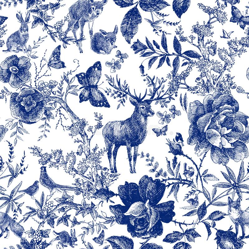 Vintage seamless design with floral and wild animal. Fairytale forest. hand drawn pattern roses flower line graphics. Fashion textile design Indigo color stock illustration
