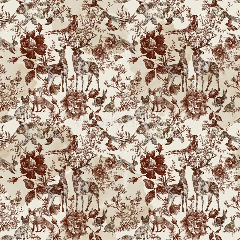 Vintage seamless design with floral and wild animal. Fairytale forest. hand drawn pattern roses flower line graphics. stock illustration