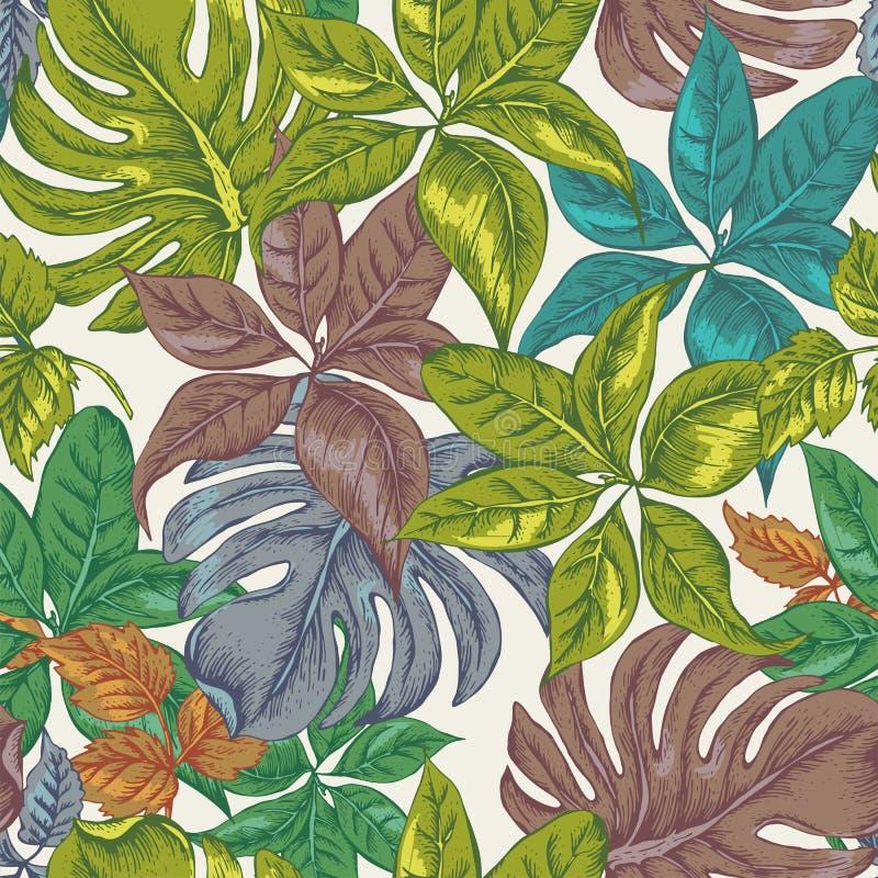 Vintage Seamless Exotic Background with Tropical Leaves. Vector Floral Botanical illustration vector illustration