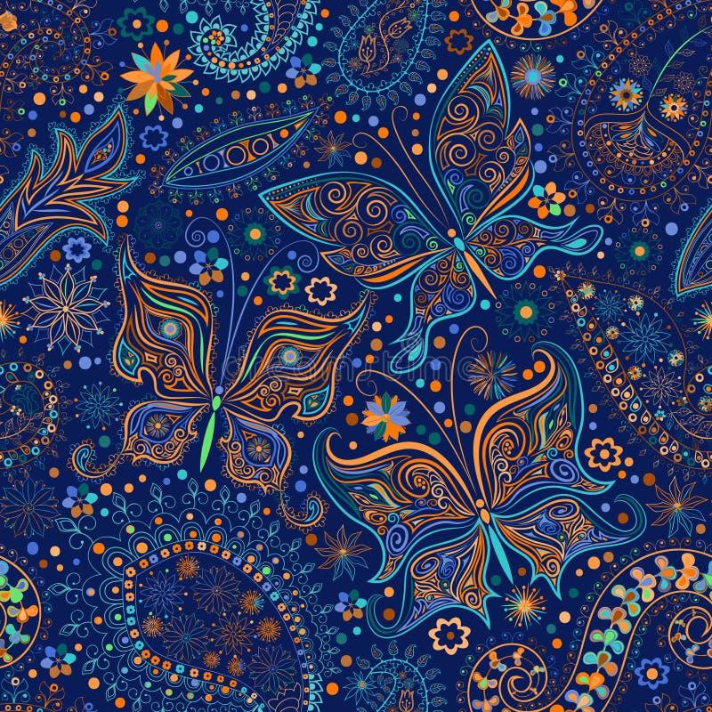 vintage seamless floral motif background with butterflies stock illustration illustration of. Black Bedroom Furniture Sets. Home Design Ideas