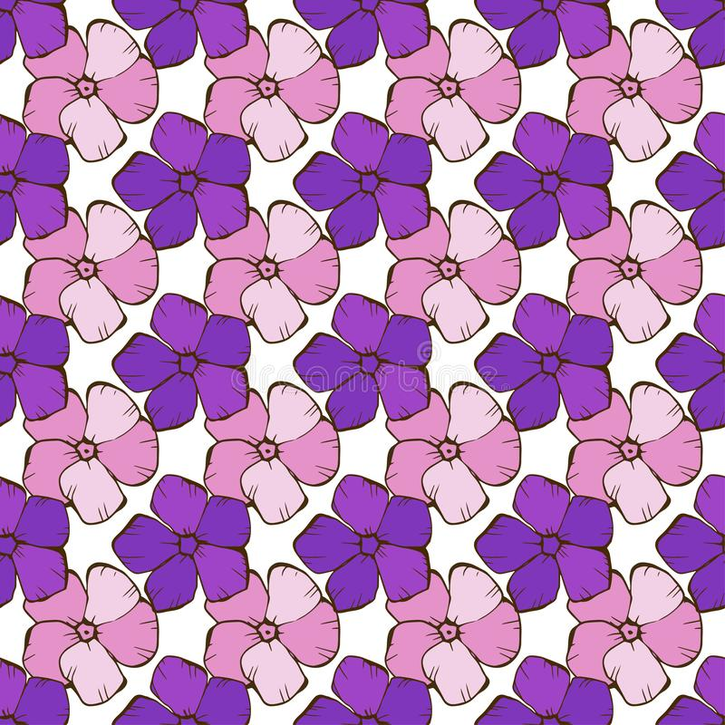 Vintage seamless floral pattern. Cute simple style flowers on a white. Abstract hand drawn vector background vector illustration