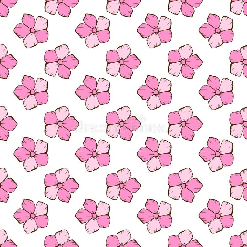 Vintage seamless floral pattern. Cute simple style flowers on a white. Abstract hand drawn vector background stock illustration