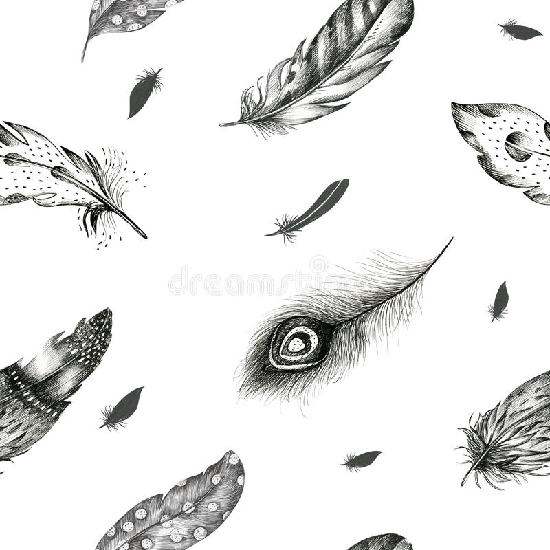 Free Vintage Seamless Graphic Pattern With Hand-drawn Feathers. Flyi Royalty Free Stock Photos - 72902028