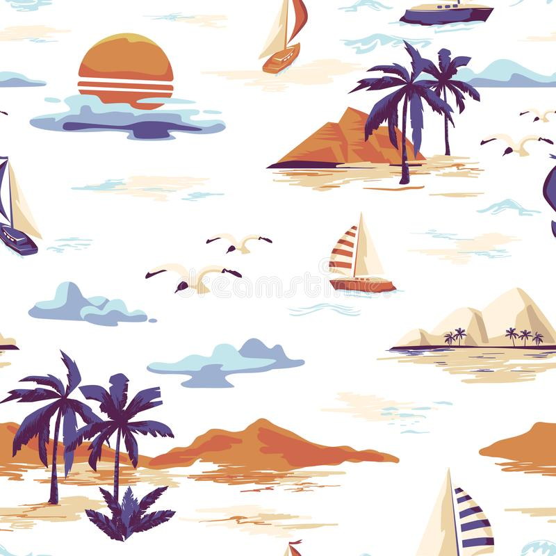 Vintage seamless island pattern Landscape with palm trees, yacht, beach and ocean hand drawn style. Vintage Beautiful seamless island pattern on white background royalty free illustration